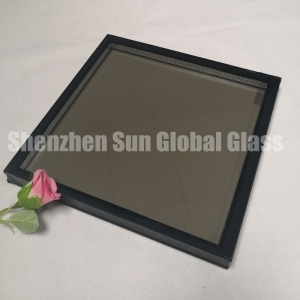 6mm+6mm bronze tempered insulated glass, 6mm+12A+6mm bronze ESG IGU, 24mm brown double glazed glass