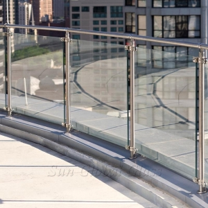 8.76mm clear laminated glass balustrade, 4+4mm tempered laminated glass railing, 4 4 2 sandwich toughened glass handrail