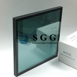 8mm F-GREEN COATING #2 toughened glass +12mm air + 8 mm clear tempered glass, 28mm French Green Low E coating tempered insulated glass, French Green Color Insulated Glass Unit