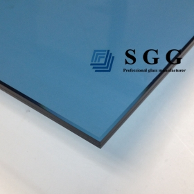 China 10.76mm light blue laminated glass panels, 5+5 PVB light blue laminated glass China factory, 10.76mm light blue sandwich glass manufacturer factory
