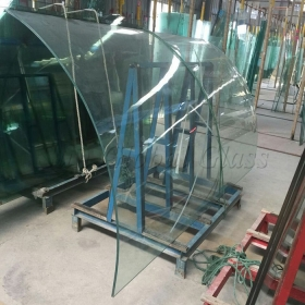 China 10.89MM clear tempered curved SGP laminated glass factory, 10.89mm curved Sentryglas glass, 10.89mm bent SGP tempered glass supplier factory