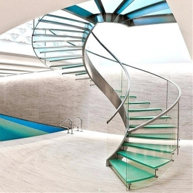 China 10mm 12mm 15mm 19mm curved tempered glass balustrade, clear toughened curved glass railing, tempered bent glass fence manufacturer factory