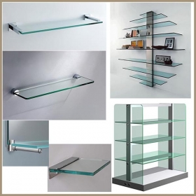 China 10mm tempered glass shelves, 10mm toughened glass shelves , 10mm rectangle glass shelves factory