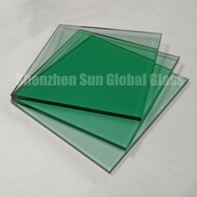 China 11.52mm light green  tempered laminated glass, 55.4 F green ESG VSG, 5mm+1.52 interlayer+5mm French green toughened laminated glass factory