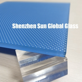China 12.28mm opaque anti slip blue laminated floor glass,55.6 esg vsg obscure blue white dots floor glass,5mm frosted glass with white dots+2.28mm pvb+5mm blue printed floor glass factory