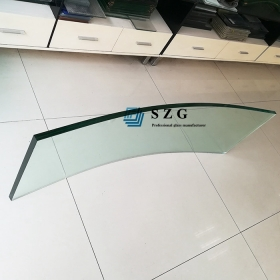 China 12mm curved heat soaked tempered glass, 12mm clear safety HST bent glass, 12mm transparent toughened heat soak curved glass manufacturer factory