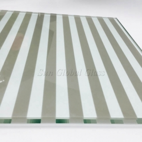 China 12mm line pattern silk screen printed glass, 12mm white color toughened printed glass, 1/2 inch customized design silk screen glass factory