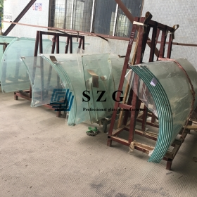 China 12mm ultra clear curved glass,1/2 inch starphire bent glass,low iron bend tempered glass factory