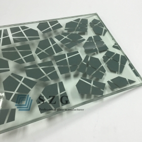 China 13.52mm silk screen laminated glass,6mm+1.52mm pvb+6mm silk screen laminated glass,664 silk screen printing laminated glass factory