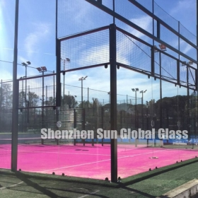 China 13.52mm tempered laminated glass for padel courts, CE and SGCC certified 6mm+6mm clear toughened sandwich glass paddle courts , 66.4 ESG VSG tennis courts factory