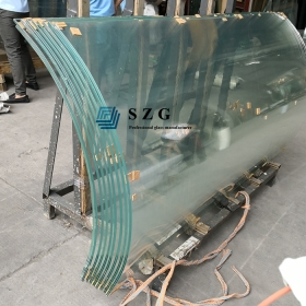 China 13.52mm ultra clear curved tempered laminated glass, 1/2 inch extra clear bent toughened laminated glass, 6mm+1.52PVB+6mm low iron curved laminated glass factory