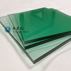 China 17.52mm green tempered laminated glass, 88.4 French green toughened laminated glass, 8mm+1.52 PVB+8mm light green ESG VSG factory