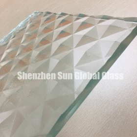 China 19mm diamond engraving glass,3/4 inch diamond groove glass,19mm diamond carved glass factory