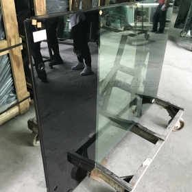 China 21.52mm laminated glass with bottom silk screen print, 1010.4 silk screen printing glass,10mm+10mm ceramic fritted glass factory