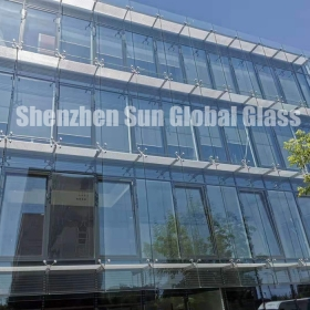 China 21.52mm low iron tempered laminated glass curtain wall, 10mm ultra clear tempered glass+1.52PVB+10mm ultra clear toughened laminated glass manufacturer, 1010.4 extra clear ESG VSG facade factory