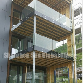 China 21.52mm silk screen printed tempered laminated glass balustrade, 1010.4 printed toughened laminated glass railing, 10+1.52+10 ESG VSG ceramic frit glass balustrade factory