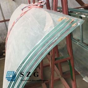 China 21.52mm super clear curved laminated glass,10.10.4 extra clear bent laminated glass,10mm+1.52mm ultra white bend laminated glass factory