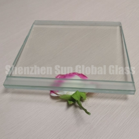 China 21.52mm ultra clear tempered laminated glass with stepped edge, 10+1.52 PVB+10 low iron tempered laminated glass price, stepped edge 1010.4 extra clear ESG VSG factory