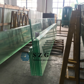 China 12mm ultra clear toughened glass+2.28mm PVB+12mm Low Iron ESG VSG, 12126 Extra clear tempered laminated glass factory