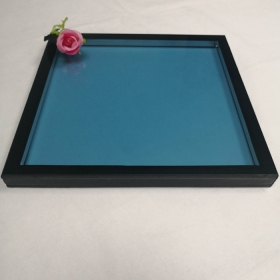 China 28mm ford blue low E double glazed glass, 8mm blue tempered glass+12A+8mm Low E tempered insulating glass, 28mm ESG double glass unit factory
