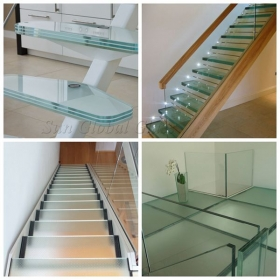 China 42mm anti-slip glass flooring & staircase, 121515 PVB/EVA laminated tempered glass flooring, 42mm anti-slip glass floor factory