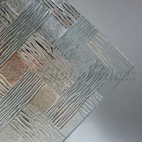 China 4mm Woven clear patterned glass manufacturer in China, 4mm Woven clear glass sheet, 4mm Woven clear figured glass best price factory