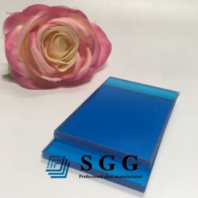 China 5mm+5mm dark blue PVB laminated glass,551 dark blue PVB laminated glass,deep blue pvb laminated glass factory
