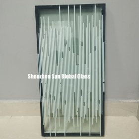 China 5mm stripe printed glass+9A+11.52mm laminated tempered insulated glass,25.52mm white stripe toughened laminated insulated glass,printed insulated glass for partition wall factory