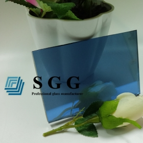 China 6mm dark blue reflective float glass, 6mm dark blue solar reflective glass, 6mm dark blue coated glass factory