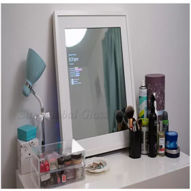 China 6mm half silver mirror, 6mm one way mirror glass, 6mm mirror media touch screen factory