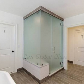 China 8mm acid etched tempered glass shower door, 8mm frosted toughened bathroom glass, 8mm safety shower glass factory