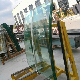 China 8mm clear heat soaked curved glass, 8mm tempered HS safety glass, 8mm transparent toughened heat soak test bent glass manufacturer factory