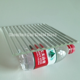 China 8mm crystal clear ribbed glass, 8mm ultra clear reeded glass, 1/3 inch low iron ribbed glass factory