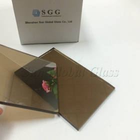 China 8mm tempered bronze reflective glass, solar control 8mm bronzed reflective tempered glass, 8mm bronze reflective thermal toughened glass factory