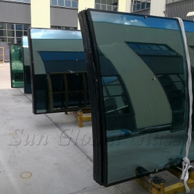 China Jumbo size 24mm HST curved double glazed glass, 6mm+12mm spacer+6mm Heat soaked curved insulated glass, 6mm+6mm bent HS IGU manufacturer factory