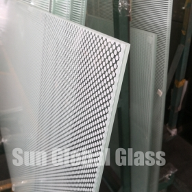China laminated tempered clear glass 4+4mm painted #4 surface 50% pattern white color,9.52mm white color  laminated glass 50% pattern dots design,44.4 white dots printed laminated glass factory